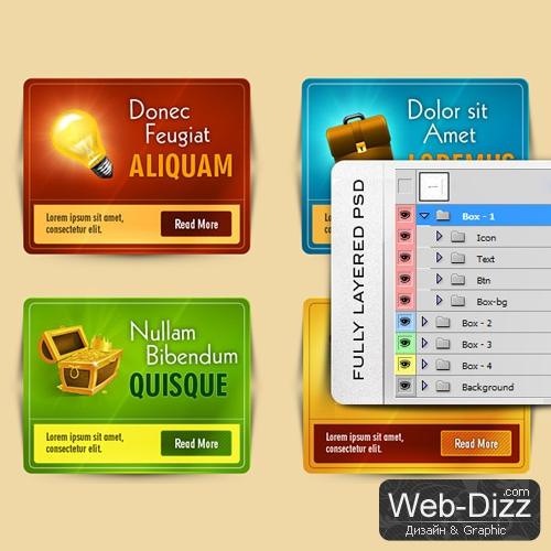 4 Web Box PSD